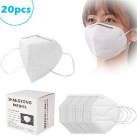 [US-W]20 PCS KN95 Masks Air Purifying Dust Pollution Vented Respirator Face Mouth Masks for Adult White
