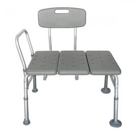 FCH Medical Bathroom Safety Shower Tub Aluminium Alloy Bath Chair Transfer Bench with Back & Handle Gray