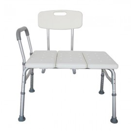 FCH Medical Bathroom Safety Shower Tub Aluminium Alloy Bath Chair Transfer Bench with Wide Seat & Padded Handle White