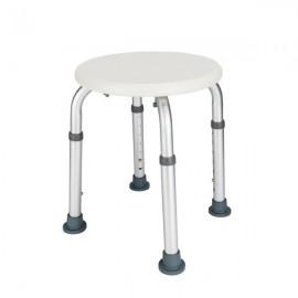 Aluminum Alloy Elderly Bath Chair Round Stool with Sucker Armrest White