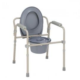 Iron Frame Folding Toilet Seat Beige White