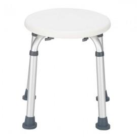 Aluminum Alloy Lift Bath Chair 8-Speed / PE Stool / Rubber Foot Mat White