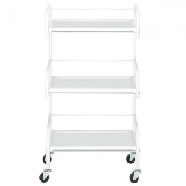 [US-W]Three-Layer Beauty Tool Cart With Glass White
