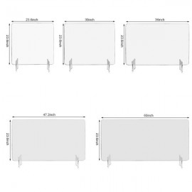 """Leadzm Acrylic Removable Sneeze Guard, Clear Freestanding Protective Shield, Barrier Against Virus Spread Board, Desk Divider (48"""" x 23.6"""" x0.24"""")"""