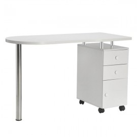 Manicure Nail Table with Drawer White