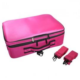 Professional High-capacity Multilayer Portable Travel Makeup Bag with Shoulder Strap (Large) Rose Re