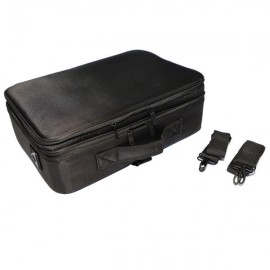 Professional High-capacity Multilayer Portable Travel Makeup Bag with Shoulder Strap Size L Black