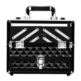 SM-1923 ABS / Acrylic / Checkered Portable Cosmetic Case Aluminum Cosmetic Case Black