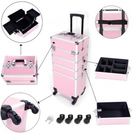 4 in 1 Aluminum Cosmetic Makeup Case Tattoo Box Pink