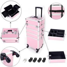 4 in 1 Aluminum Cosmetic Makeup Case Tattoo Box Pink