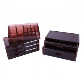 [US-W]3Pcs / Set Plastic Cosmetics Storage Rack 6 Small & 2 Large Drawers Clear Brown