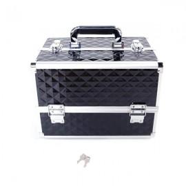 Multi-layer Professional Portable Aluminum Cosmetic Makeup Case Black