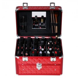 Makeup Train Case with 24 compartments Nail polish storage and 1 Drawer Professional Organizer Beauty Vanity Makeup Case with Mirror Portable Cosmetic Holder Red