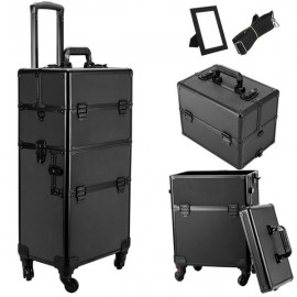3 in 1 4 Wheel Pro Aluminum Rolling Makeup Cosmetic Train Case Lockable Wheeled Box