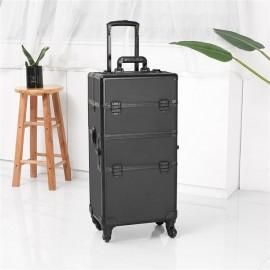 3 in 1 4 Wheel Pro Aluminum Rolling Makeup Cosmetic Train Case Lockable Wheeled Box