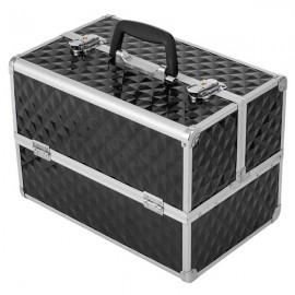 """[US-W]13.5"""" Makeup Train Case Professional Cosmetic Box with Adjustable Dividers 4 Trays and 2 Locks Black"""